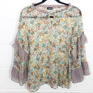 Ana Floral Ruffle Sleeve Tie Front detail Blouse